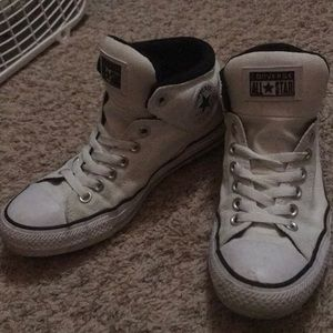 Converse white canvas mid high tops